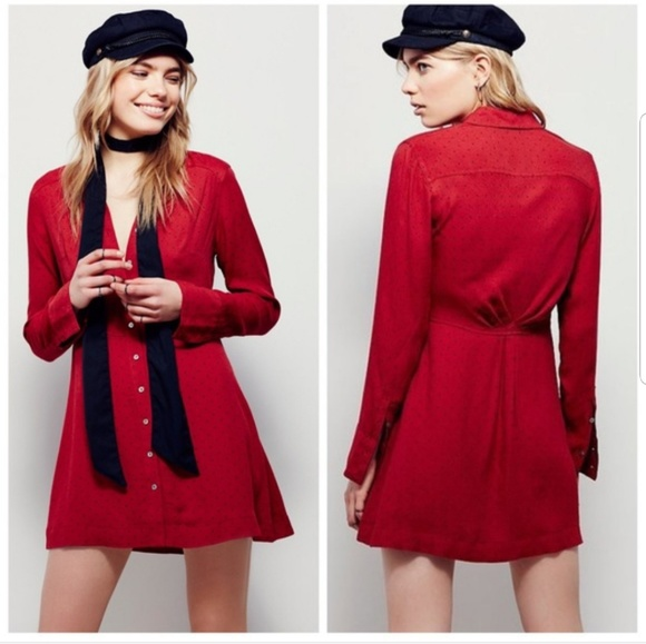 bf58774880c Free People Dresses   Skirts - Free People This Town Red Polka Dot Shirt  Dress